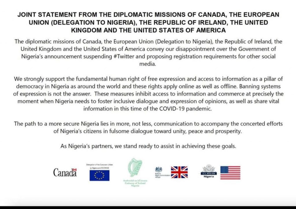 Nigeria under fire from U.S, EU, UK, Canada, and Ireland over Twitter ban    AIT LIVE